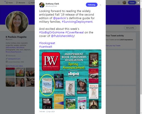 Anthony Clark tweet Surviving Deployment cover reveal on Publishers Weekly